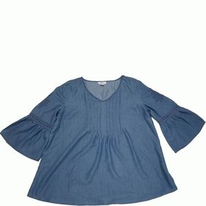Style Co Embroidered Denim Top Sun Wash Large